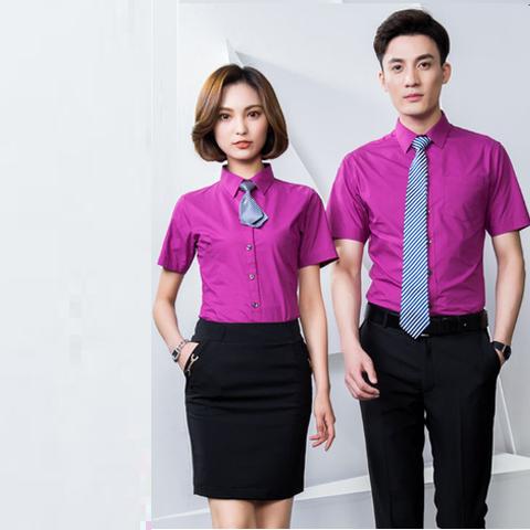 Sơ mi đồng phục văn phòng tay ngắn màu tím