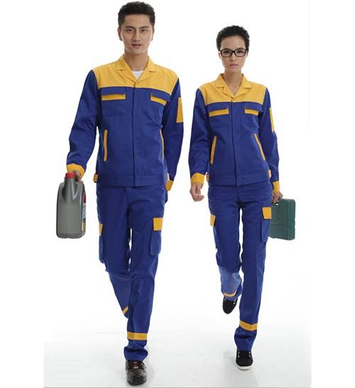 Đồng phục bảo hộ lao động công ty tay dài phối màu xanh vàng