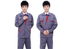 Đồng phục bảo hộ lao động cho công nhân tay dài phối màu xám đỏ