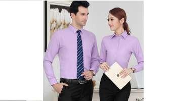 Sơ mi đồng phục công sở tay dài màu tím nhạt