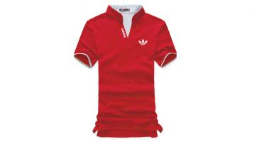 Áo thun đồng phục cổ trụ màu đỏ tay ngắn