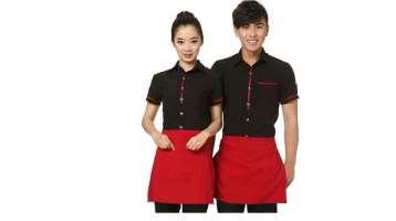 Sơ mi đồng phục nhà hàng tay ngắn màu đen phối viền đỏ