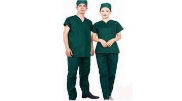 Đồng phục bác sĩ màu xanh lá tay ngắn