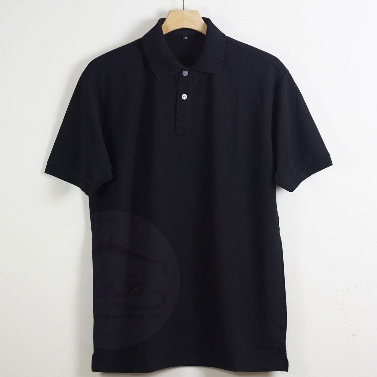 Áo thun đồng phục cổ bẻ tay ngắn màu đen