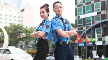Đồng phục bảo hộ tay ngắn màu xanh phối cà vạt