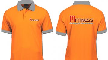 Áo thun đồng phục màu cam tay ngắn cổ bẻ