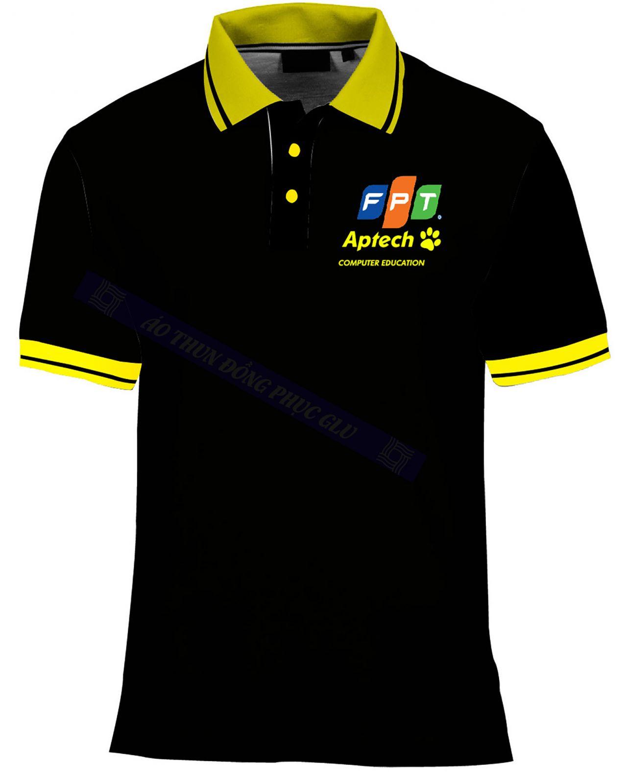 Áo thun đồng phục màu đen cổ tròn viền vàng tay ngắn
