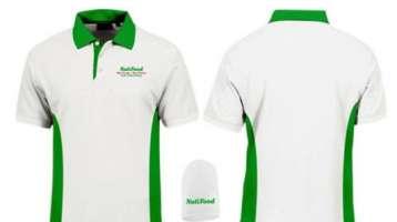 Đồng phục áo thun trắng phối cổ viền tay xanh lá