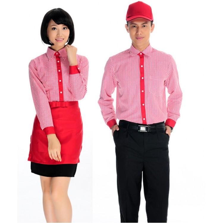 Sơ mi đồng phục nhà hàng tay ngắn màu đỏ phối viền đỏ
