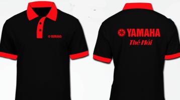Áo thun đồng phục Yamaha tay ngắn màu đen phối cổ đỏ