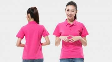 Đồng phục áo thun nữ cổ trụ tay ngắn màu hồng