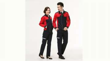 Đồng phục bảo hộ nam nữ tay dài màu đỏ đen