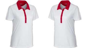 Áo thun đồng phục cổ trụ màu trắng phối đỏ