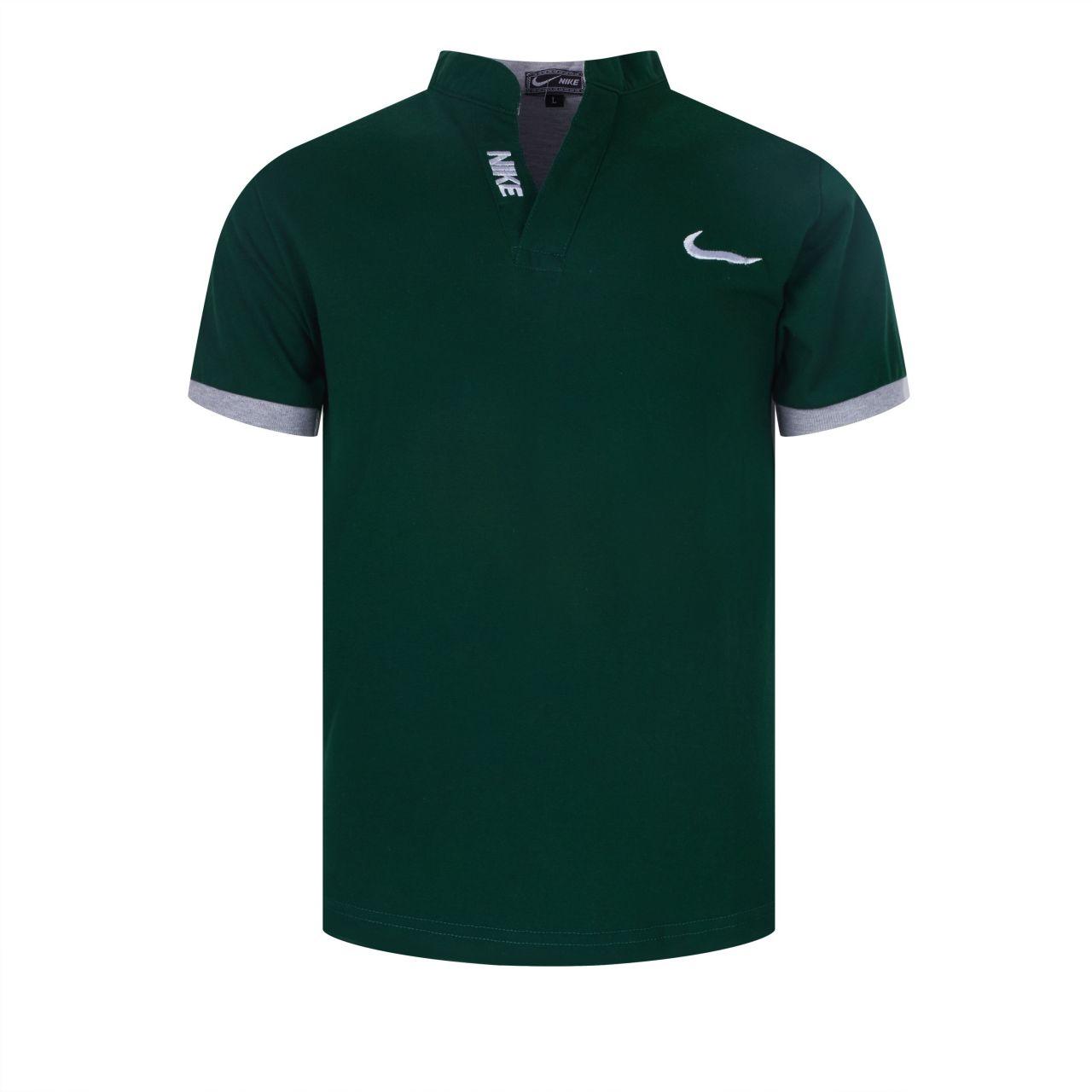 Đồng phục áo thun cổ trụ tay ngắn màu xanh rêu thêu logo NIKE