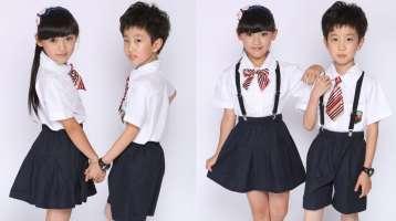 Đồng phục học sinh tiểu học sơ mi ngắn tay kèm quần và nơ