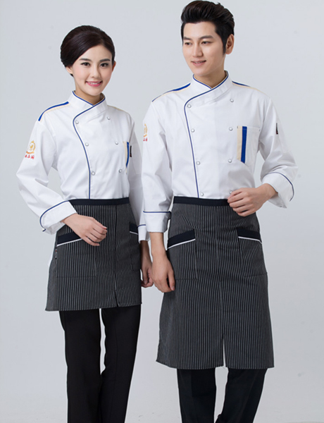Đồng phục bếp dài tay kèm nón hoặc tạp dề