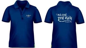 Áo thun đồng phục cổ trụ tay ngắn in logo màu xanh đậm