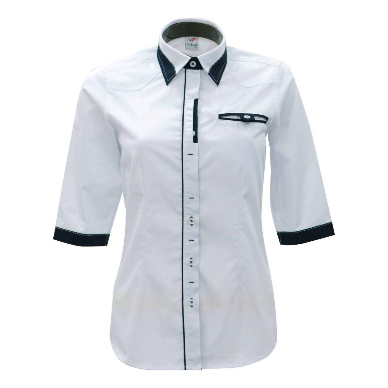 Đồng phục sơ mi tay lỡ màu trắng phối đen