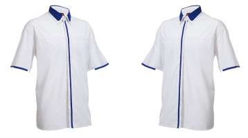 Đồng phục sơ mi tay ngắn màu trắng phối xanh