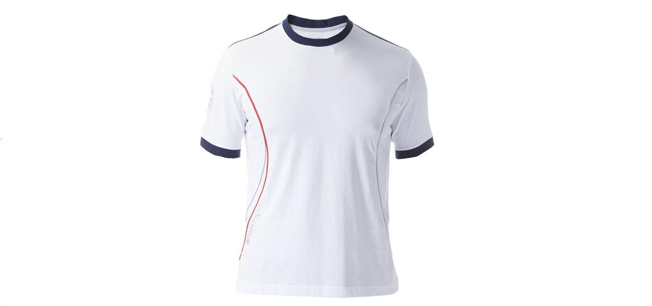 Đồng phục áo thun thể thao tay ngắn có bo cổ tròn phối màu trắng xanh