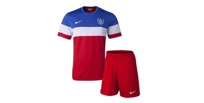Đồng phục áo thun thể thao tay ngắn cổ tròn phối màu đỏ-trắng-xanh kèm quần