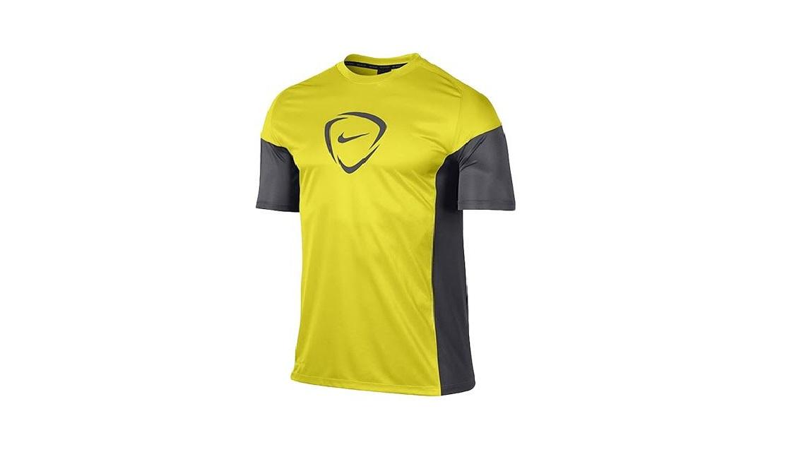 Đồng phục áo thun thể thao nam cổ tròn phối màu vàng xám
