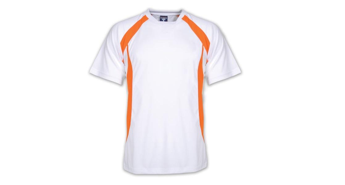 Đồng phục áo thun tay ngắn cổ tròn phối màu trắng cam