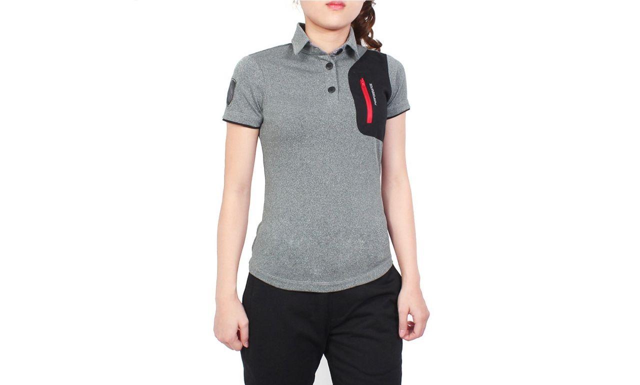 Đồng phục áo thun thể thao nữ tay ngắn cổ trụ phối màu xám đen