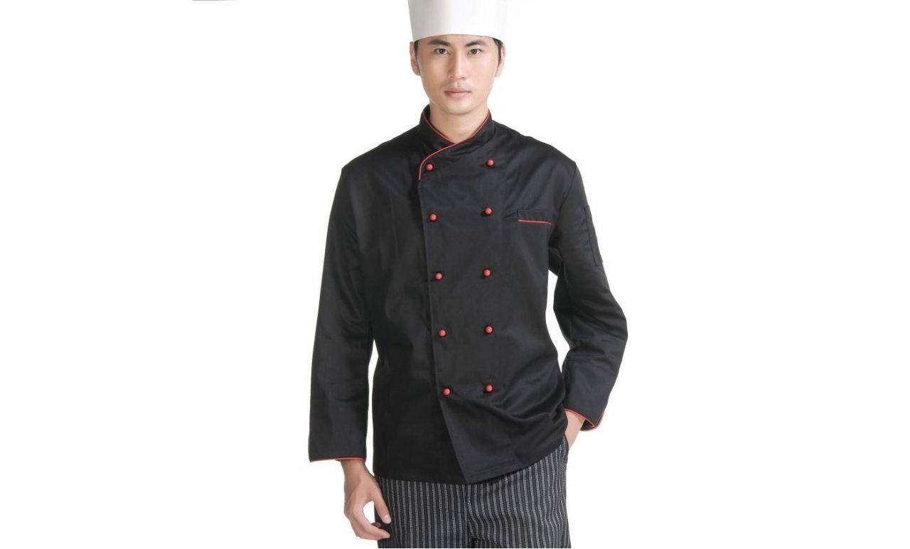 Đồng phục bếp tay dài màu đen viền đỏ kèm nón