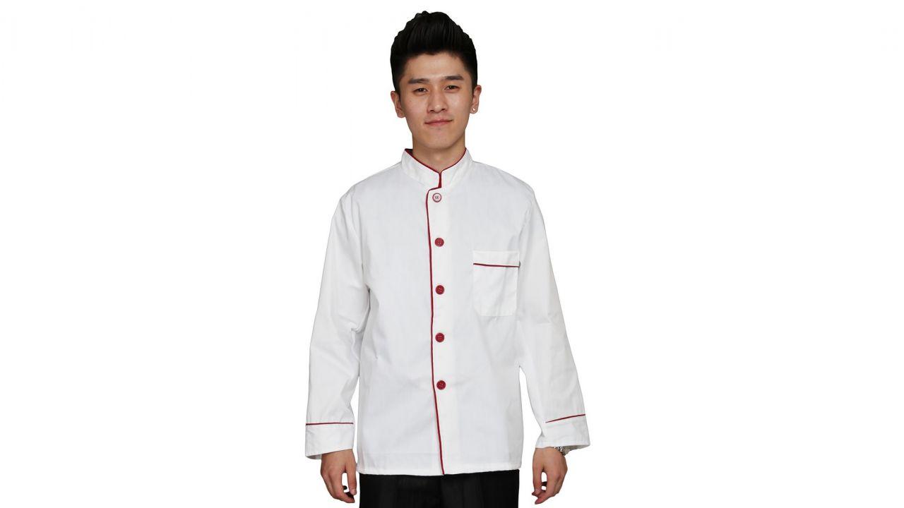 Đồng phục bếp tay dài màu trắng viền đỏ