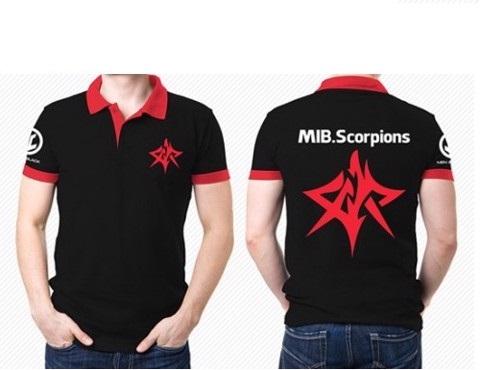 Áo thun đồng phục tay ngắn cổ trụ phối màu đen đỏ