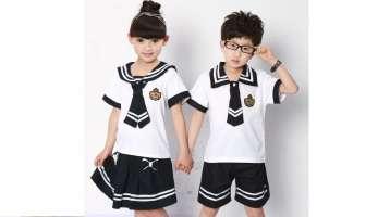 Sơ mi đồng phục học sinh tiểu học kiểu thủy thủ phối màu trắng đen